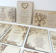 Wood Wedding Invitations  Nature Inspired Weddings by naturefavors, $187.50