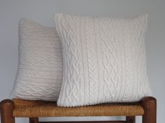 Pillow Cover Knitted Sweater Off White Cable by ButtermilkCottage, $35.00