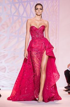A model walks the runway during the Zuhair Murad show as part of Paris Fashion Week — Haute
