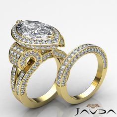 Marquise Diamond Vintage Engagement Bridal Set Ring GIA G SI1 14k Yellow Gold 5ct