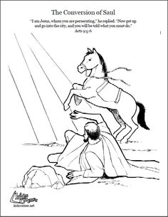 Paul's Conversion. Coloring page, script and audio story at http://kidscorner.reframemedia.com/bible/stories/the-story-of-pauls-conversion/