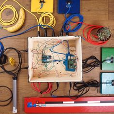 Sensor box We Play banana cactus and flowers #arduino #raspberry #sensors #ir #softpot #puredata #max #max7 #maxmsp #linux #raspbian #music #parquet #workplace #xlr #colors by tomme_o