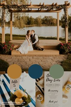 These two got married lakeside under a big wooden arbor, then had their reception decorated with lemon centerpieces, lemon invitations, and small lemon favors & take home gifts for their wedding guests! The yellow lemon & deep navy blue wedding color palette was perfect for this summer wedding! But the best part was her simple yet whimsical wedding dress from the Wedding Shoppe! Shop online or in store today! | summer wedding ideas | lemon wedding inspo | unique wedding | mn bride Free Wedding, Plan Your Wedding, Unique Weddings, Real Weddings, Lemon Centerpieces, Wooden Arbor, Wedding Shoppe, Summer Wedding Colors, Whimsical Wedding