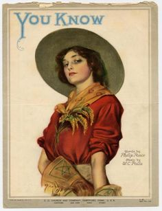 1919 sheet music -- the cowgirl knows. She is so tough, she wears ragweed as an accessory!
