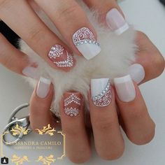 50 Top Best Wedding Nail Art Designs To Get Inspired Bride Nails, Prom Nails, My Nails, Gorgeous Nails, Pretty Nails, Acrylic Nail Designs, Nail Art Designs, Mandala Nails, Lace Nails