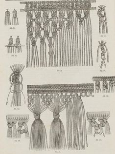 So macrame is like braiding hair? From the public domain book Complete guide to the work-table : containing instructions in Berlin work, crochet, drawn-thread work, embroidery, knitting, knotting or macrame, lace, netting, poonah painting, & tatting, with numerous illustrations and coloured designs (1884). Más