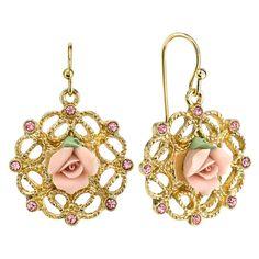 1928 Manor House Rose GoldTone Floral Decal Drop Earrings 28