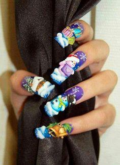 Christmas nails by Pisut Masanong Xmas Nails, 3d Nails, Holiday Nails, Acrylic Nails, Christmas Nail Designs, Christmas Nail Art, Merry Christmas, Beautiful Nail Designs, Beautiful Nail Art
