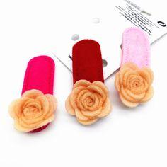 2 Pairs Toddlers Children Hair Accessories Rose Flower Non-slip Snap Hair Clips Kids Girl Felt Safe Hairpin 4 Colors Headwear FJ
