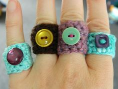 And to show you the visual glimpse of some fabulous jewelry designs out of the crocheting we have collected some inspirational ideas for you. So have a loo Crochet Rings, Crochet Jewellery, Finger Lights, Light Turquoise, One Ring, Winter Sale, Winter Accessories, Crochet Fashion, Beautiful Crochet