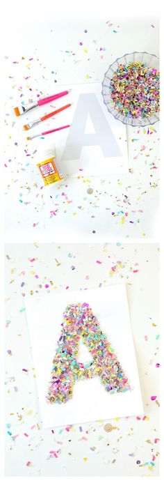 Confetti Crafts: Monogram Letter Art – Mod Podge Rocks If you love confetti crafts, try this easy monogram letter art! This technique can be used with a variety of letter, numbers, and shapes. Arts And Crafts For Teens, Art And Craft Videos, Arts And Crafts House, Easy Arts And Crafts, Arts And Crafts Projects, Diy And Crafts, Crafts For Kids, Creative Crafts, Fun Crafts