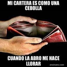 My wallet is like an onion, when I open it it makes me cry. Memes Chistosos - Mi Cartera es como una cebolla