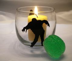 Zombie Candle Holder Votive Glass and Brain by TheHalloweenQueen, $7.99