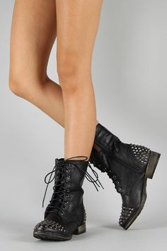 Military Lace up Studded Combat Boot