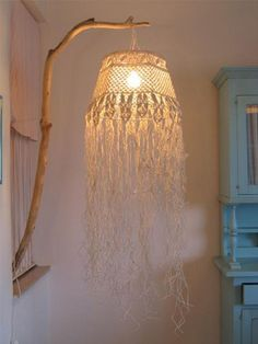 Prodigious Cool Tips: Wall Lamp Shades Etsy antique lamp shades louis comfort tiffany.Small Lamp Shades For Chandelier lamp shades drum how to make. Macrame Art, Macrame Projects, Diy Luminaire, Rustic Lamp Shades, Macrame Curtain, Macrame Tutorial, Lampshades, Decoration, Weaving