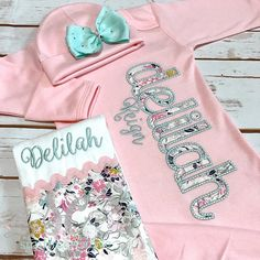Baby Girl Coming Home Outfit - Personalized Baby Gown - Baby Girl Bring Home Outfit - Newborn Sleeper - Unique Baby Clothes - Monogrammed Newborn Coming Home Outfit, Girls Coming Home Outfit, Take Home Outfit, Baby Gown, Baby Girl Gowns, Baby Monogram, Personalized Baby Gifts, Baby Girl Fashion, Toddler Fashion
