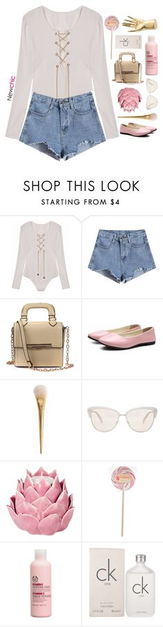 """NewChic 21"" by blonde-scorpio-xo ❤ liked on Polyvore featuring Oliver Peoples, Zara Home, The Body Shop, Calvin Klein and Kelly Wearstler"