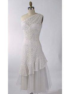 50s/60s Lilli Diamond White Lace One Shoulder Dress