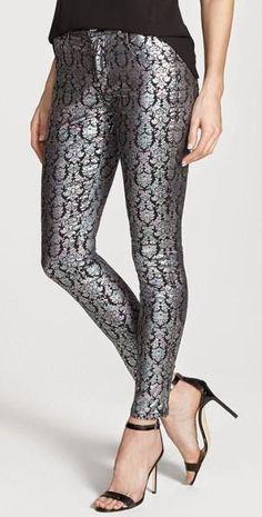 Metallic Print Skinny Pants