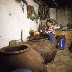 Vats used in traditional wine making in Cyprus
