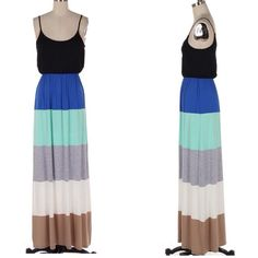 Colorblock Dress Multi colorblock maxi dress.  Lowest prices are listed upfront.  Bundle discounts apply.  Thanks for looking! Dresses