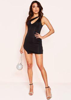 5021bcadc06076 Maisha Black One Shoulder Cut Out Mini Dress