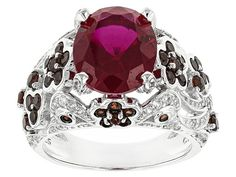 4.46ct Lab Created Ruby And 1.34ctw Vermelho Garnet(Tm) And .41ctw Whi