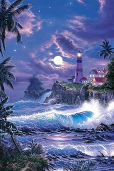 Christian Lassen, artist ~ tropical art moonlit beach lighthouse