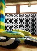Retro circles: iMarimekko wallpaper pieni melooni room – # w Marimekko, Wall Design, Kids Room, Vintage, Contemporary, Wallpaper, Retro Room, Circles, Living Room