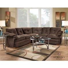 Albany Allendale Sectional Sofa, Chocolate Microfiber $700