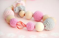 Crochet necklace. Teething necklace.