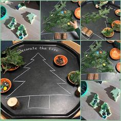 🎄TREE🎄 Decorating a tree in the tuff spot and tree playdough. Childrens Christmas, Preschool Christmas, Christmas Crafts For Kids, Xmas Crafts, Christmas Themes, Christmas Tree Decorations, Christmas Activities For Children, Eyfs Activities, Nursery Activities