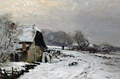 Lodewijk Franciscus Hendrik 'Louis' Apol (Den Haag 1850-1936) A farm in a snow-covered landscape - Dutch Art Gallery Simonis and Buunk Ede, Netherlands.