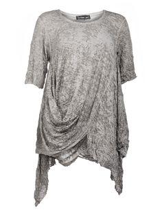 Barbara Speer Shirt mit geraffter Front in Taupe-Grau