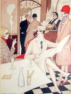 Au Café (c. Gerta Wegener (Danish, Art Deco, Watercolor on paper. One of the most important, eccentric and controversial artists of the Art Deco period, Wegener illustrated diverse. Art Nouveau Pintura, Arte Art Deco, Moda Art Deco, Estilo Art Deco, Art And Illustration, Illustrations Posters, Art Deco Posters, Vintage Posters, Look Vintage