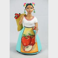 Authentic Original Najaco Premium Lupita Doll figurine w Sack of apples for sale, Mexican Ceramic w Blue Dress imported direct from Mexico by Wandering Gypsy from Tonala Rose Colored Dress, Mexican Ceramics, Ceramic Figures, Princess Zelda, Disney Princess, Baby Blue, Pottery, Apple, Dolls