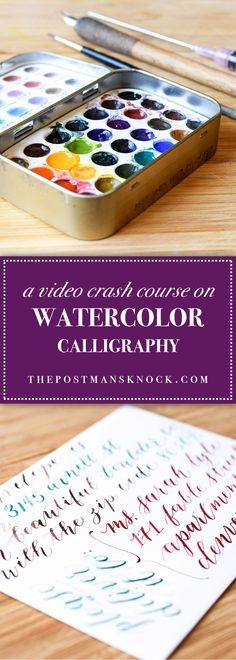 A Video Crash Course on Watercolor Calligraphy You don't need ink to create dip pen calligraphy . try painting watercolor on the back of your nib to make watercolor calligraphy! Detailed tutorial with videos. Watercolor Lettering, Watercolor Brushes, Watercolour Tutorials, Watercolor Cards, Watercolour Painting, Painting & Drawing, Watercolors, Watercolor Techniques, Brush Lettering