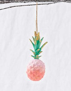 Glitterville Pineapple Ornament , Pink | Aerie for American Eagle Coastal Christmas, Christmas Crafts, Christmas Decorations, Xmas, Holiday Decor, Holiday Ideas, Pineapple Ornament, The Elf, Tis The Season