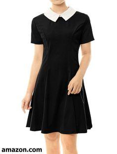 20819723a40 Allegra K Women s Contrast Doll Collar Short Sleeves Above Knee Flare Dress  Casual Attire