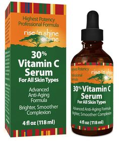 (4 oz) 30% Vitamin C Serum with Hyaluronic Acid - Stimulates Collagen for Anti-Aging Repairs Dark Circles Around Eyes and Sun Damage for Skin Face and Neck Fades Age Spots and Wrinkles => Tried it! Love it! Click the image. : Travel Skincare