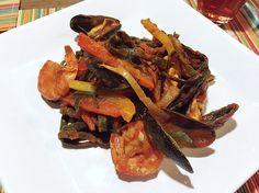 Seamore pasta met paprika en garnalen (en eventueel broccoli en/of tomaat)