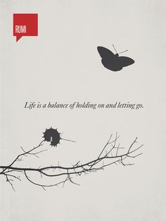 """Life is a balance of holding on and letting go"" - Rumi"