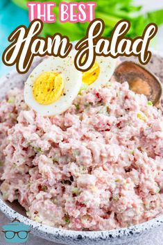 The best ham salad recipe only requires a food processor, leftover ham, mayonnaise, celery, onion and perfectly combined seasonings! My most requested recipe! Ham Salad Recipes, Pork Recipes, Cooking Recipes, Low Carb Ham Salad Recipe, Paleo Recipes, Crockpot Recipes, Recipies, Ham Dishes, Veggie Dishes