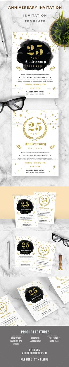 Anniversary Invitation Template - Modern Swirl Anniversary - formal invitation template