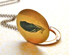 Large Locket Jewelry Necklace Feather Feathers by verabel on Etsy