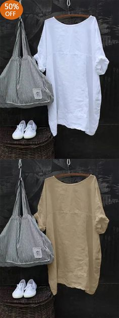 Casual Solid Color Cotton Half Sleeve Blouse - All About Pretty Outfits, Chic Outfits, Robes Vintage, Half Sleeves, Short Sleeves, Mode Style, Blouses For Women, Casual, Shabby Chic
