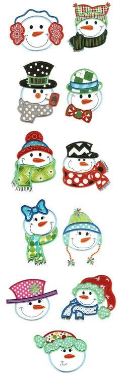 Snowman activities: Cute snowmen Faces Applique Embroidery Designs by JuJu Christmas Snowman, Winter Christmas, Christmas Time, Christmas Ornaments, Christmas Signs, Felt Ornaments, Christmas Cookies, Snowman Crafts, Christmas Projects