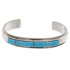 """Handmade Navajo bracelet, product details; - Stone: Turquoise - Sterling Silver - Weight: 22.8g - Width: 0.40"""" sizing chart - Fits The Average Wrist Native Artist"""