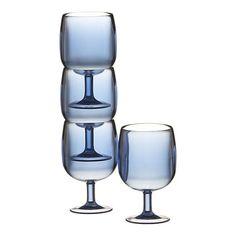 Stacking Blue Acrylic Wine Glasses