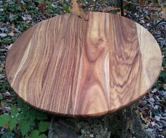 """Lazy Susan Acacia Wood 14"""" Hand Crafted Stunning Wood Grains Throughout"""